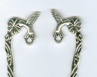 Set 4 5in Silver Hummingbird Bookmark Zines flower book Marker Finding