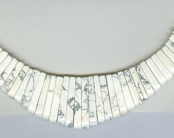 White Howlite Maxi Cleopatra Collar Fan 41pc Bead Set