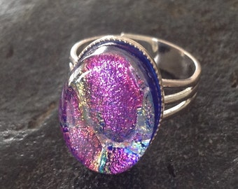 Purple Pink Fused Dichroic Art Glass Jewelry Adjustable Ring