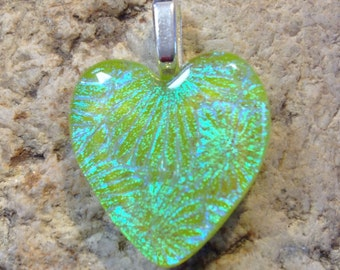 Light Green Blue Fused Dichroic Art Glass Jewelry Heart Pendant