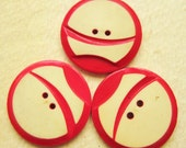 Vintage Wafer Buttons - Red Cream Plastic