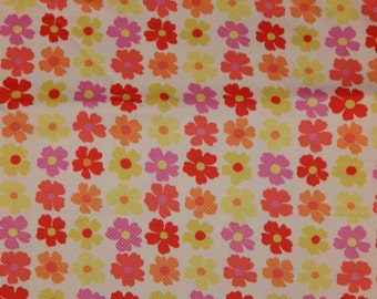 Cotton PIQUE fabric wide flowers pink floral