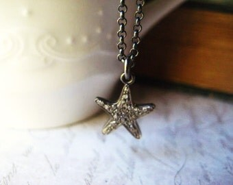 Diamond Necklace, Pave Diamonds, Starfish Pendant, Sterling Silver, Diamond Charm, diamond starfish, Pave Charm, Oxidized Sterling