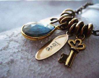 Labradorite Necklace, Charm Necklace, Brass Key, Love Charm, Brass Lock, Labradorite Bezel, Brass Necklace, Womens Jewelry, candies64
