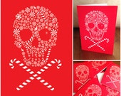 Holiday Candy Skull Red Christmas Xmas Gift Card Pack - 8 Cards 8 Envelopes