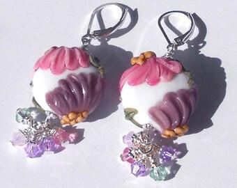 SUMMER BLOOMS Earrings Floral Lampwork Swarovski Crystal Pink Purple Flowers