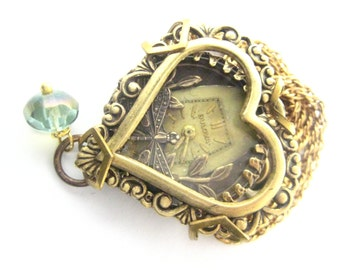 Dragonfly  Heart ...Steampunk Heart  Necklace, Steampunk, Shadowbox, Steampunk Necklace, Steampunk Dragonfly, Victorian,Heart, One of a Kind