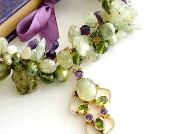 Peridot Grossular Garnet Choker Necklace - Amethyst Pearls New Jade - Fairfield Necklace