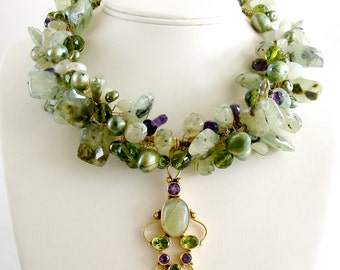 Peridot Grossular Garnet Choker Necklace - Amethyst Pearls New Jade - Fairfield Necklace