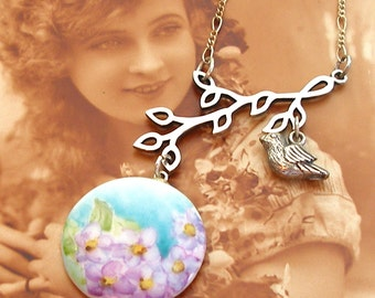 Antique BUTTON Necklace, Purple flowers on porcelain & sterling chain, one of a kind jewellery.