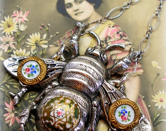 BEE Antique BUTTON necklace, Victorian flowers on bumblebee & sterling chain. Antique button jewelry, jewellery.