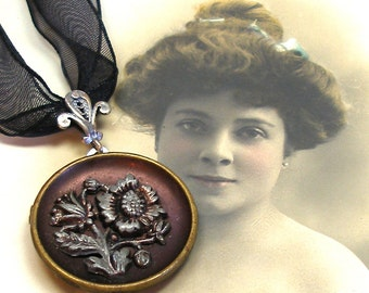 Antique BUTTON necklace, Victorian Flower on ribbon choker,  Antique button jewellery.