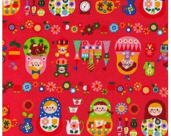 HALF YARD Cosmo Textile - Russian Nesting Dolls on PINK Watermelon - Matroyshka Dolls, Castle, Mice, Mitten, Teacup - Oxford - Japanese