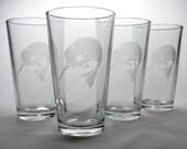 4 Narwhal Pint Glasses - winter ocean animal friends