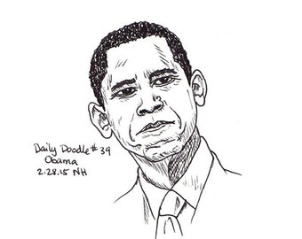 No.39 Obama / Drawing / Illustration / Daily Doodle / Drawing of Barack Obama / Black & White Portrait Drawing of Barack Obama