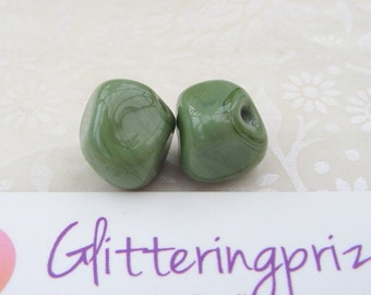 Lampwork Beads Glass Olive Green Nugget Bead