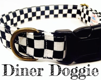 "Retro Mod Punk Black White Checkered Dog Collar - Organic Cotton - Antique Brass Hardware - ""Diner Doggie"""