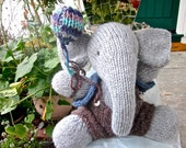 Knit Stuffed Animal,  Elephant Doll, Hand Knit, Heirloom Collectible/ ...And Alexander Makes Two! One of a Kind