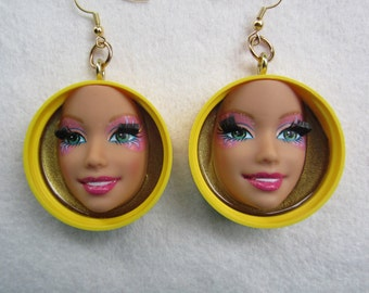 Mardi Gras - upcycled Barbie doll face earrings