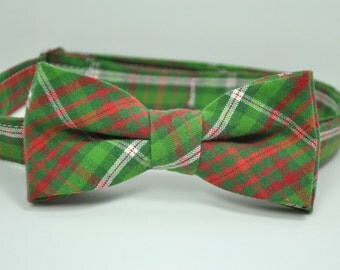 Boy's Bow Tie - Christmas Plaid -  Green and Red Plaid Tie - Baby - Toddler - Teen - Boy