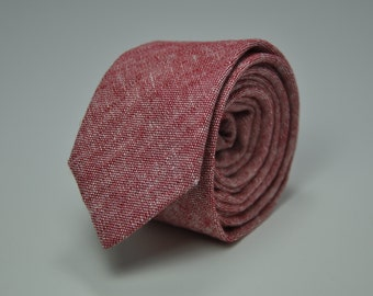 Men's Skinny Necktie in Red Chambray Linen