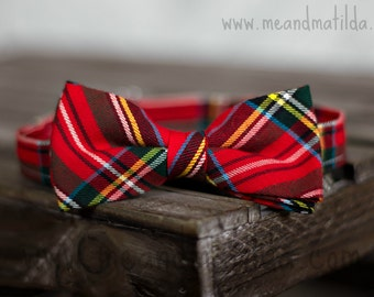 Boy's Christmas Day Bow Ties, Toddler Ties, Holiday Bowties, Plaid Bow Ties, Red Tartan Bow Tie