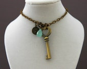 Brass Key with Chalcedony, Pearl & Angel Charm Necklace
