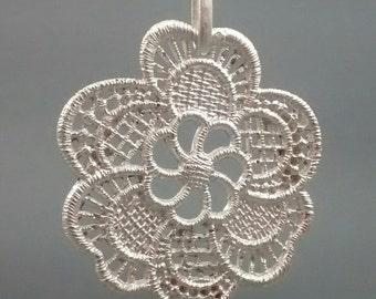 Argentium Silver Lace  applique Pendant