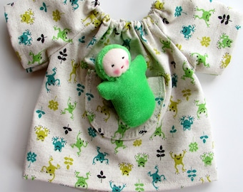 green frogs dress, 10 - 12 inch, handmade doll clothing for Waldorf dolls