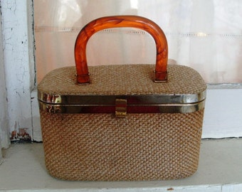 Vintage Cosmetic Bag Purse Case with Lucite Handle