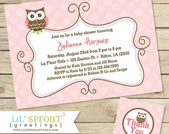 Owl Girl Printable Baby Shower Invitation