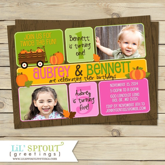 Fall pumpkin themed double birthday invitation by lil sprout il570xn m4hsunfo
