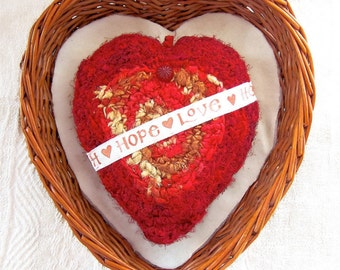 Red Silk Heart - Plush Message of Hope & Love - Heartfelt Desire - Engagement Proposal - Unique Handmade Gift for Her - Button Embellished
