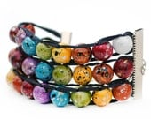 Painted Rainbow 3-Tier Ablet Knitting Abacus - Row Counting Bracelet