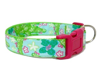 Dog Collar Made from Lilly Pulitzer Alberta Gator Fabric Size: Your Choice