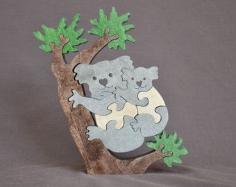 Koala with Baby Animal Puzzle Wooden Toy Hand  Cut with Scroll Saw