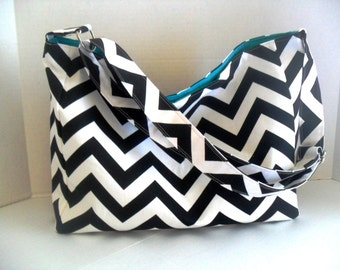 Black Diaper Bag - Hobo - Messenger Bag - Diaper Bag - Crossbody - Black Chevron - Chevron Bag
