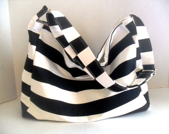 Hobo -  Black and White Stripe - Messenger Bag - Diaper Bag - Crossbody
