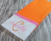 Orange Personalized Pillowcase, Orange Monogrammed Pillowcase
