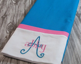 Turquoise and Pink Personalized Pillowcase, Turquoise Pillowcase