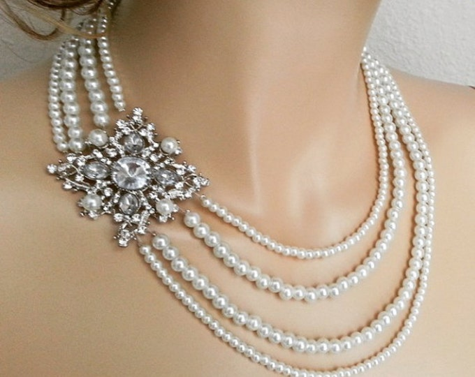 Pearl Statement Necklace Wedding Jewelry  ELORA