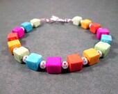 Geometric Rainbow Bracelet, Hematite Cubes, Colorful and Silver Beaded Bracelet, FREE Shipping U.S.