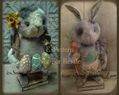 Another Prim Bunny EPattern Standing rabbits with Eggs and Carrot