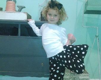 Black polka dot ruffle pants, size new born, 3 mo, 6 mo, 9 mo, 12 mo, 18 mo, 2T, 3T