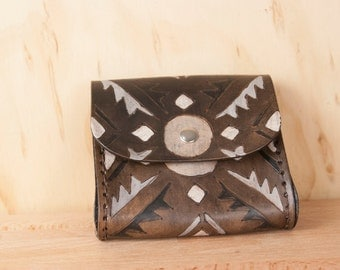 Belt Bag - Leather - Fanny Pack - Waist Bag - Four Corners with Southwest style geometric pattern - Black white silver gray antique black