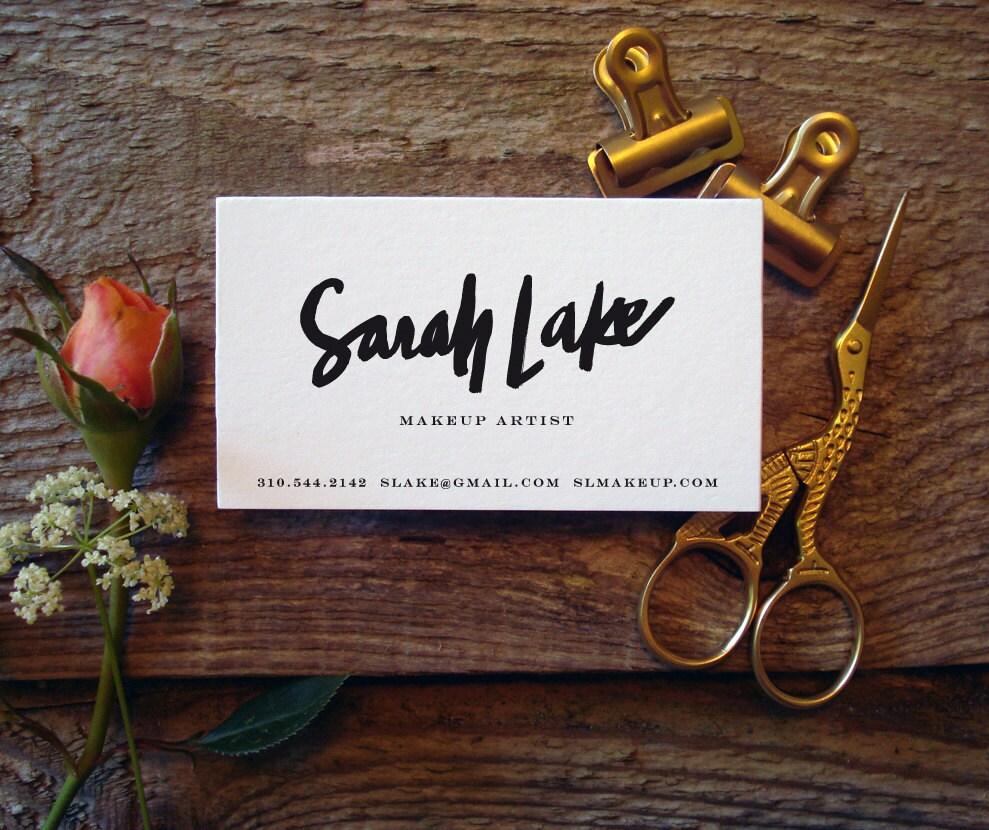 Custom Brush Script Hand Lettered Business Cards 100