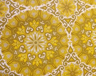 Yellow vintage wallpaper retro mandala paper