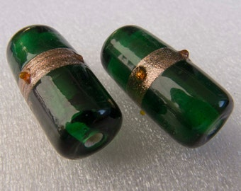Vintage Czech 1960s Green with Aventurine Lampwork Cylinder Beads - Pair