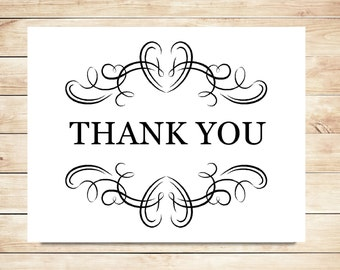 Vintage Flourish Thank You Cards - Classy Stationery