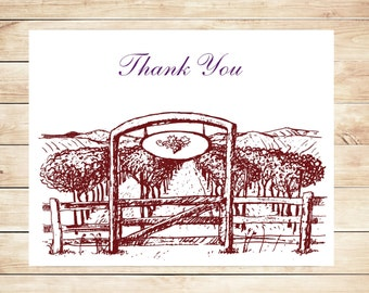 Vineyard Thank You Cards - Vineyard Stationery - Wine Theme Stationery